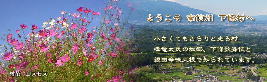 ようこそ 南信州 下條村へ 小さくてもきらりと光る村 峰竜太 氏の故郷、下條歌舞伎と親田辛味大根で知られています。
